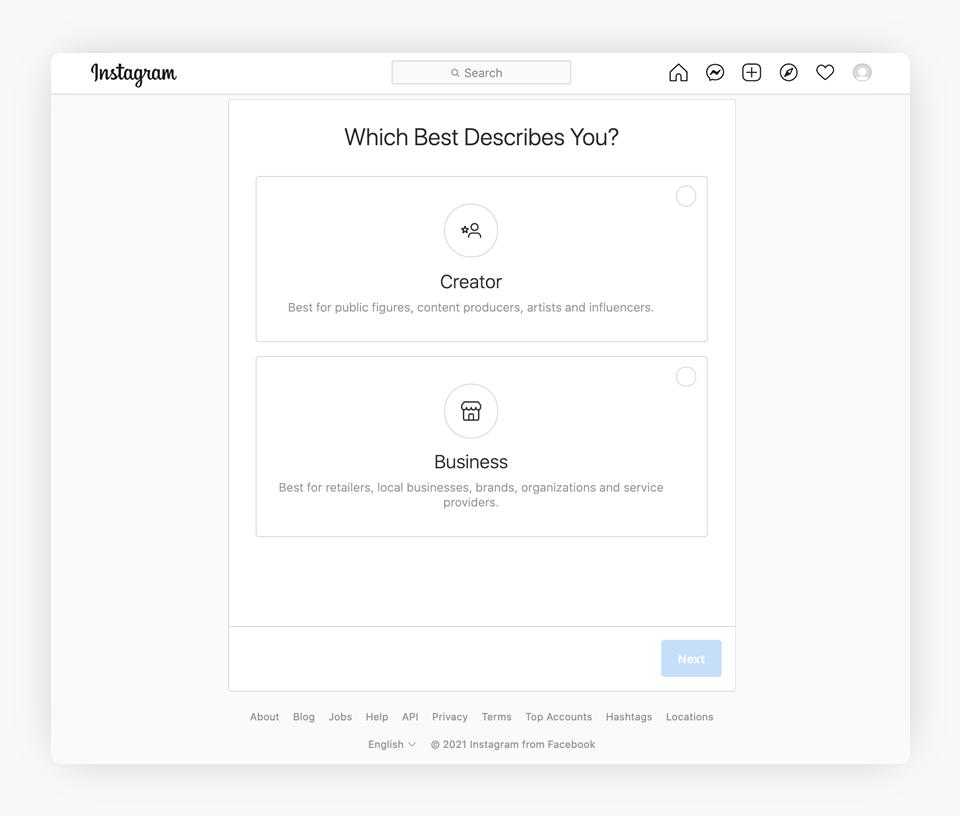 Instagram - Complete Your Account