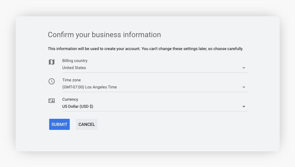 Google Ads - Confirm Business Information