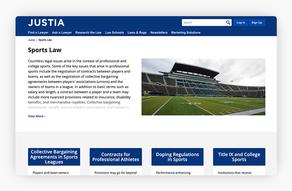 Justia Sports Law Section Screenshot